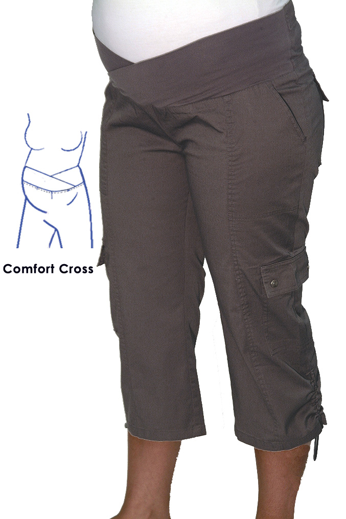 8ad2d02b2db2c Maternity Plus size 3 4 Cargo Pant In Cement