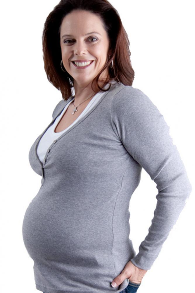 Maternity Henley Breast Feeding Top Grey Marle