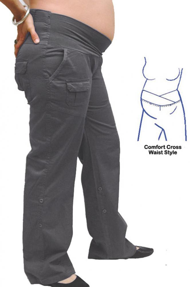 These maternity cargo pants are super comfy with very soft fabric. I wear an x-small and it was true to size. As a dental hygienist, I never felt tight or uncomfortable while sitting and leaning over patients.