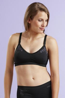 Nursing Bra With Adjustable Drop Cup in Black