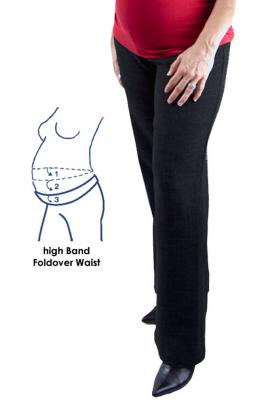 Maternity Plus Size Corporate fold waist tall pant in stretch suiting