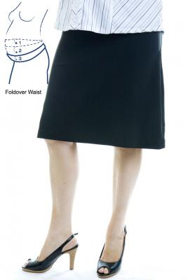 Maternity plus Size Skirt A-Line with Fold-over Waist in Black