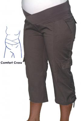 Maternity Plus size 3/4 Cargo Pant In Cement