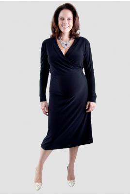 Maternity plus size black wrap dress