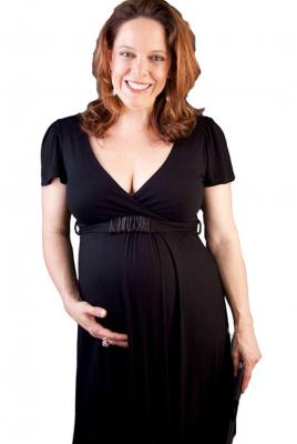 Maternity V Front & Back Black Dress with under bust belt trim