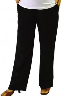 maternity linen pants in black