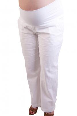 maternity linen pants in white