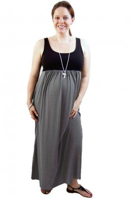 Maternity Plus Size Maxi Knit Dress Charcoal Black