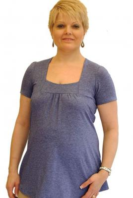 Maternity Square Neck Top Chambray