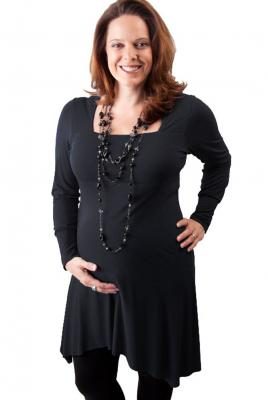 maternity plus size Square Neck Dress in Black