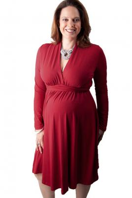 Maternity Plus Size Funnel Neck Dress in Tabasco