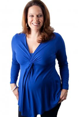 Maternity Plus Size Twist Front Breast Feeding Top in Cobalt Blue