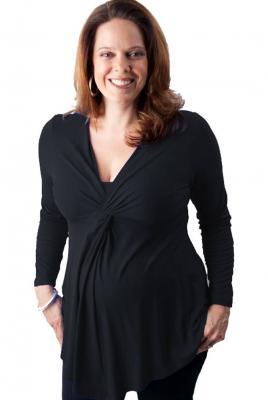 Maternity Twist Front Breast Feeding Top in Black