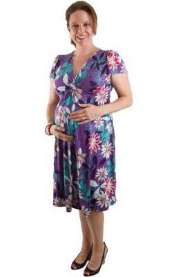 Maternity Twist Front Dress Mauve Floral Print