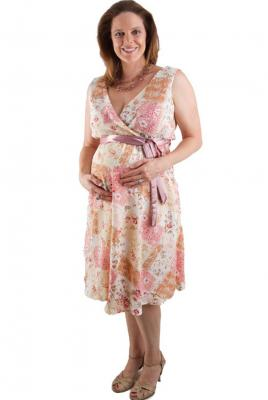 Maternity V Front and Back Dress in Crinkle Floral Print