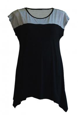 Plus Size Maternity top with stripe yoke feature