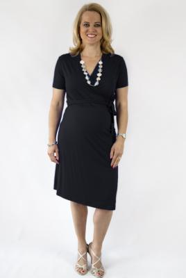 Maternity Plus Size Wrap Dress Short Sleeve in Black