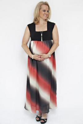maternity plus size maxi dress flame angel satin print with knit bodice