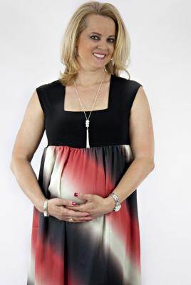 maternity dress angel satin with knit bodice in flame print