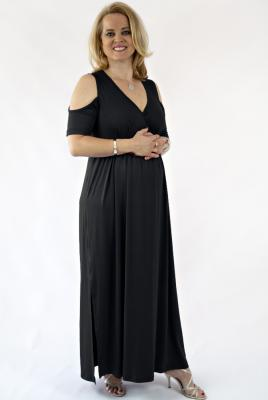 Plus Size Maternity maxi dress cold shoulder stretch knit black
