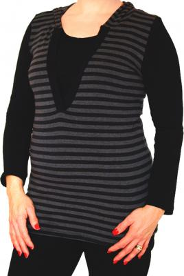Plus Size Breastfeeding Striped Hoodie