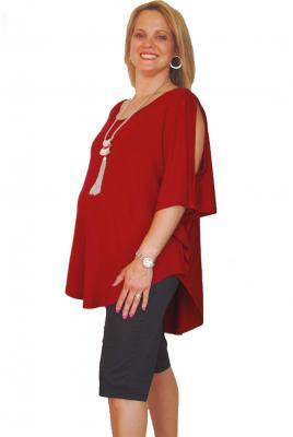 Maternity Plus Size Split Sleeve Top in Tabasco