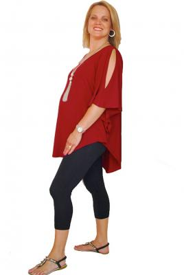 Plus Size Split Sleeve top and 3/4 Leggings