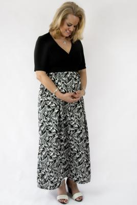 Maternity maxi dress stretch knit bodice leaf print skirt