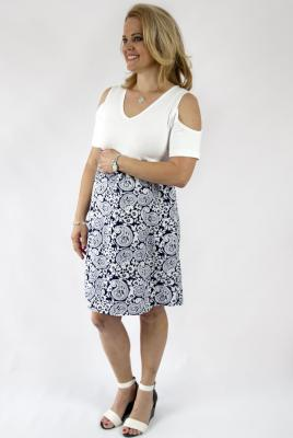 Maternity Dress Navy Paisley and Knit Bodice