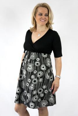 Maternity plus size dress stretch knit bodice cotton skirt