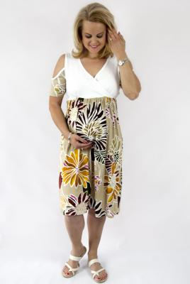 Maternity dress khaki floral print knit bodice with cold shoulder