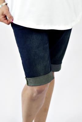 Maternity stretch denim shorts in dark denim