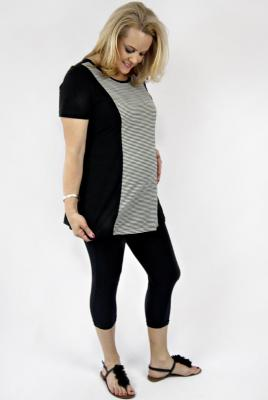 Plus Size Maternity top with stripe panel