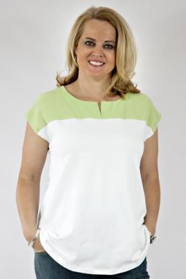 Plus Size Maternity Contrast Yoke Top Apple Bubble Texture Yoke Cap Sleeve